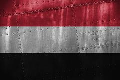 Metal texutre or background with Yemen flag Stock Photos