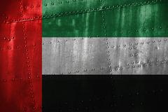 Metal texutre or background with United Arab Emirates flag Stock Photos