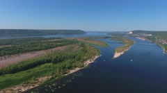 Aerial view on Zhiguli mountains and Volga river Stock Footage