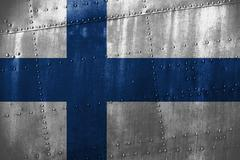 Metal texutre or background with Finland flag Stock Photos
