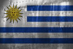 Metal texutre or background with Uruguay flag Stock Photos