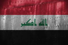 Metal texutre or background with Iraq flag Kuvituskuvat