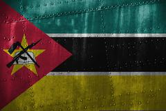 Metal texutre or background with Mozambique flag Stock Photos