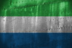 Metal texutre or background with Sierra Leone flag Stock Photos