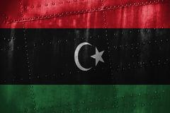 Metal texutre or background with Libya flag Stock Photos