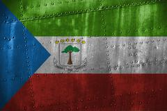 Metal texutre or background with Equatorial Guinea flag Stock Photos