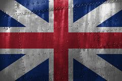 Metal texutre or background with Great Britain flag Stock Photos