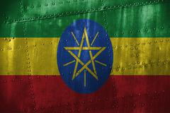 Metal texutre or background with Ethiopia flag Stock Photos