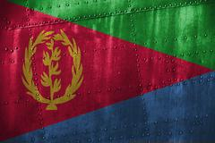 Metal texutre or background with Eritrea flag Stock Photos