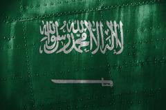 Metal texutre or background with Saudi Arabia  flag Stock Photos