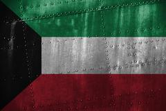 Metal texutre or background with Kuwait flag Stock Photos