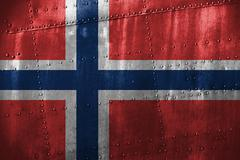 Metal texutre or background with Norway flag Stock Photos