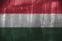 Metal texutre or background with Hungary flag Stock Photos