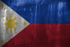 Metal texutre or background with Philippines flag Stock Photos