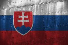 Metal texutre or background with Slovakia flag Stock Photos