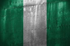 Metal texutre or background with Nigeria flag Kuvituskuvat