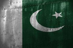 Metal texutre or background with Pakistan flag Stock Photos