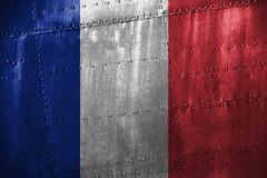 Metal texutre or background with France flag Stock Photos