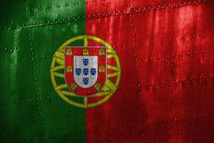 Metal texutre or background with Portugal flag Stock Photos