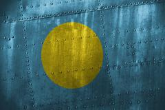 Metal texutre or background with Palau flag Stock Photos