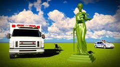 Justice in medicine 3d rendering Stock Illustration