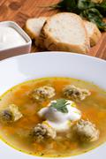Vegetable and meatball soup Stock Photos