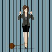Business woman with weight in prison Stock Illustration