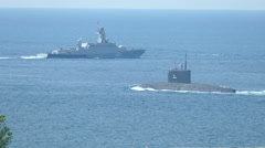 Missile boats and missile submarine military exercises Stock Footage