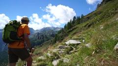Trekking in italian alps Stock Footage