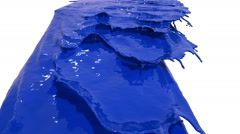 Blue paint pouring on white background. Colored paint Stock Footage