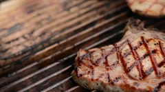 Delicious Juicy Perfect Steak with Bread. Grilling time at Summer Picnic Stock Footage