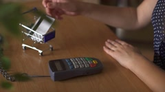 Close up of woman hand holding credit card Stock Footage
