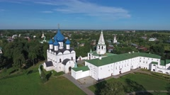 Aerial view on kremlin in Suzdal, Russia Stock Footage