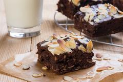 Brownie with almond Stock Photos
