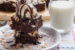 Brownie with ice cream Stock Photos