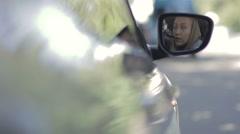 Closeup of male hand opening car door Stock Footage