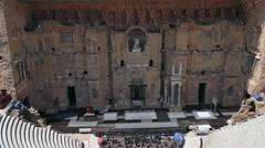 Roman Theatre In Orange France Ancient Monument Old Building Landmark Stock Footage