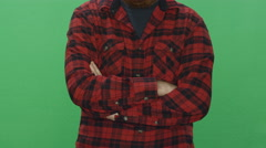 Bearded man smiling, on a green screen background Stock Footage