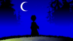 Silhouette cartoon girl walking in the forest at night. Stock Footage