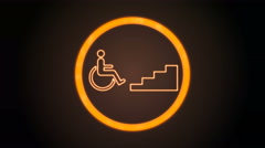 Orange Accessibility Icon with digital code Stock Footage