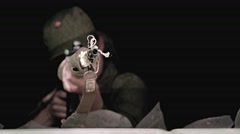 A female sniper is aiming with a dragunov rifle out of a broken window Stock Footage