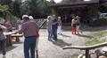 4k Older village people dancing outside gastronomy building with music group 4k or 4k+ Resolution
