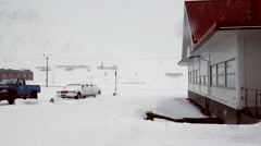 Shops in main street in arctic town Longyear. Stock Footage