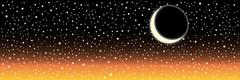 Night sky with stars and moon. Vector image Stock Illustration