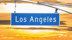 Los Angeles Street Sign with Time Lapse Sunset and Zoom Stock Footage