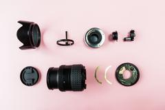 Components of a lens Stock Photos