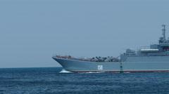 Russian landing ship on the high seas Stock Footage
