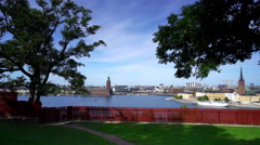 City view of Stockholm from Sodermalm Stock Footage