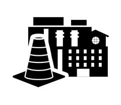 Factory and traffic cone icon Stock Illustration