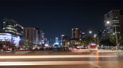 Timelapse of traffic in night Seoul, South Korea Arkistovideo